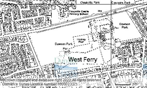 Map showing location of Dawson Park, Strathern Road, Broughty Ferry, Dundee