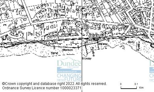 Map showing location of Grassy Beach, Footpath From Douglas Terrace Along Forshore, Broughty Ferry, Dundee