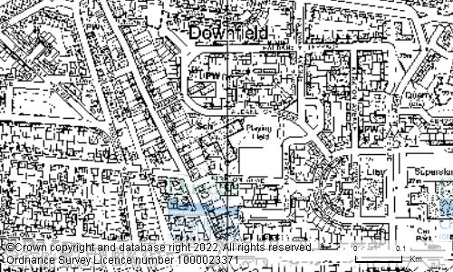 Map showing location of DOWNFIELD PRIMARY SCHOOL, 20 HALDANE CRESCENT, DUNDEE, DD3 0JP